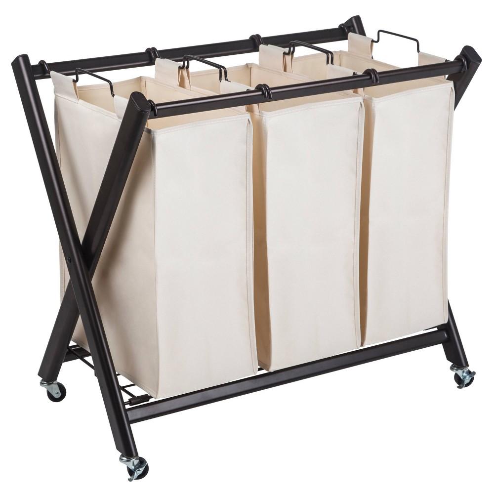 Image of Greenway Deluxe Steel Triple Laundry Sorter, Beige Brown