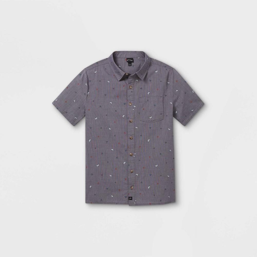Boys 39 Short Sleeve Button Down Shirt Art Class 8482 Gray Xl