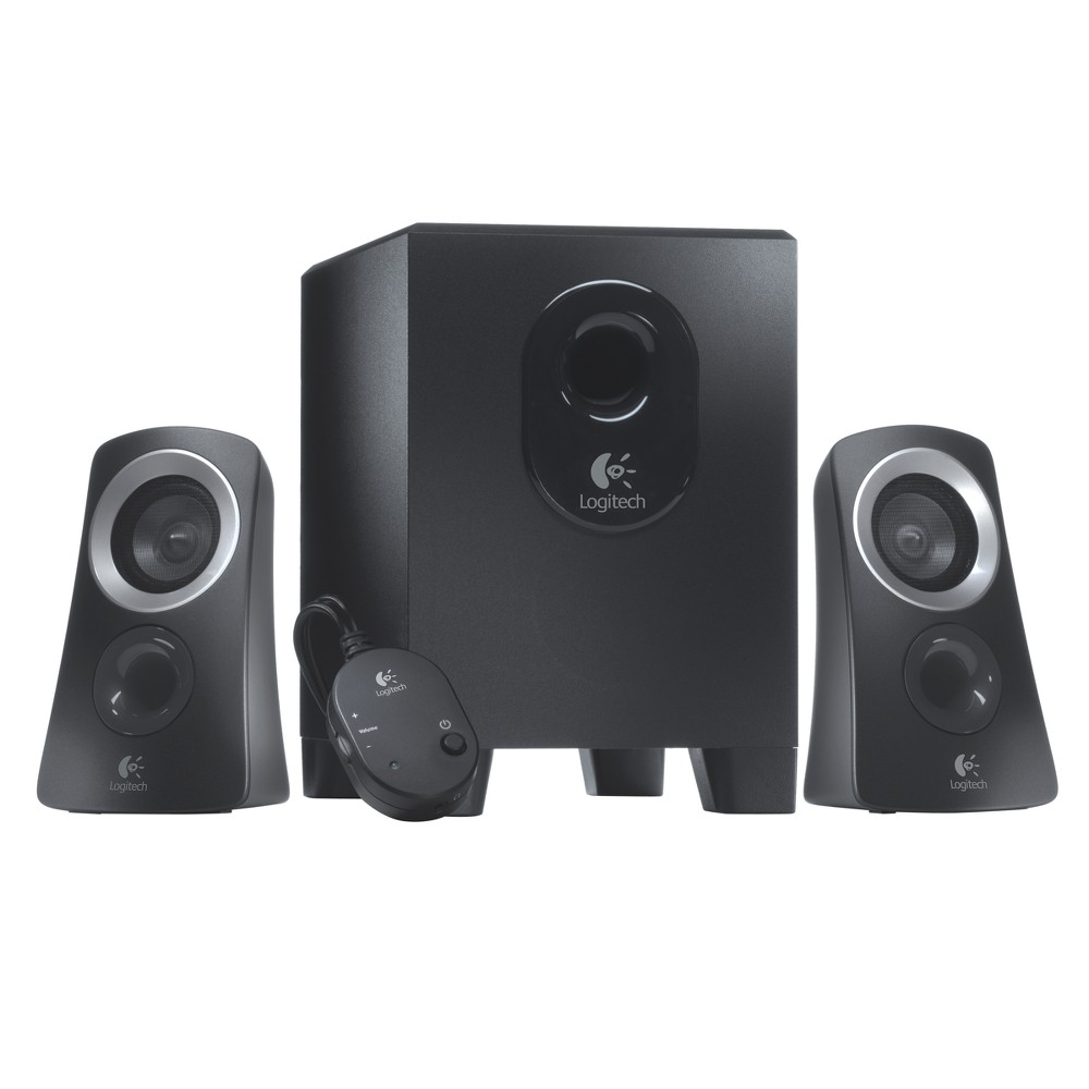 Logitech Z313 Speaker System with Subwoofer - Black (980-000382) You're listening to music and online videos, watching movies and TV on your computer. But your built-in pc audio just won't cut it. That's where the Logitech Speaker System Z313 comes in, offering you the easy way to kick back and enjoy your music. Its convenient control pod makes it easy to control volume and even plug in your headphones. 25 watts (Rms) of power fills your room with big, balanced sound. The compact subwoofer fits into tight spaces and delivers deeper bass when you want to feel the beat. Plus, it's a snap to set up. Just connect the speakers to the subwoofers, and plug the subwoofer into your computer. That's it.