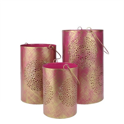 """Northlight Set of 3 Fuchsia Pink and Gold Decorative Floral Cut-Out Pillar Candle Lanterns 10"""""""