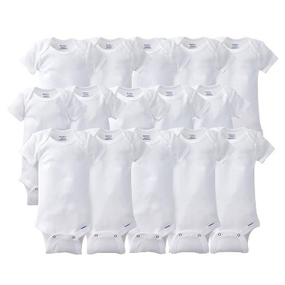 Gerber Onesies Bodysuits 15pc White Grow with Me Bundle - 0-3m, 3-6m, 6-9m