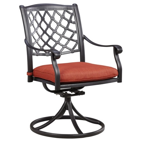 Tanglevale 2pk Metal Patio Swivel Chair with Cushion - Orange/Brown  - Outdoor by Ashley - image 1 of 3