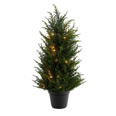 """18"""" Indoor/Outdoor Cedar Artificial Tree with LED Lights - Nearly Natural"""