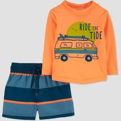 Baby Boys' 'Ride the Tide' Long Sleeve Rash Guard Set - Just One You® made by carter's Orange/Blue 3M