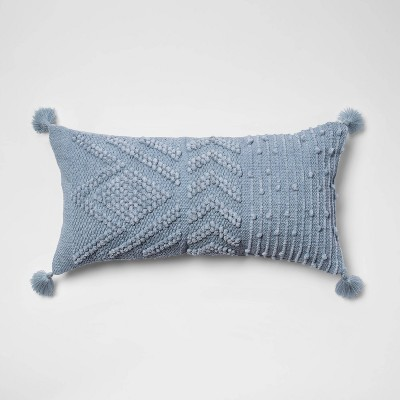 Oversize Embroidered Textured Lumbar Throw Pillow Blue - Opalhouse™