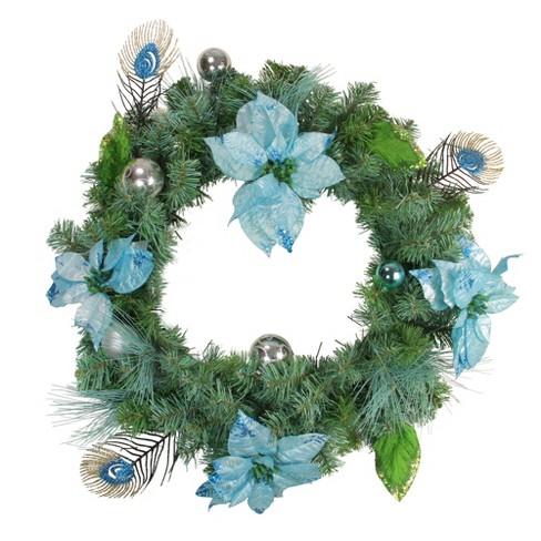 Silver Christmas Wreath.Northlight 24 Blue Silver Peacock Poinsettia Artificial Christmas Wreath