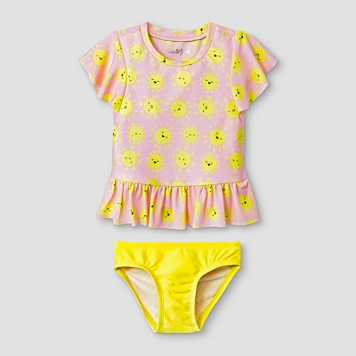 Baby Girls' 2pc Rash Guard Set with Flounce - Cat & Jack™ Pink/Yellow 18M