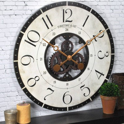 "27"" Carlisle Gears Wall Clock Neutral White/Black - FirsTime & Co."