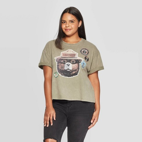 Women's Smokey Bear Plus Size Short Sleeve Graphic Cropped T-Shirt (Juniors') - Olive Green Wash - image 1 of 2