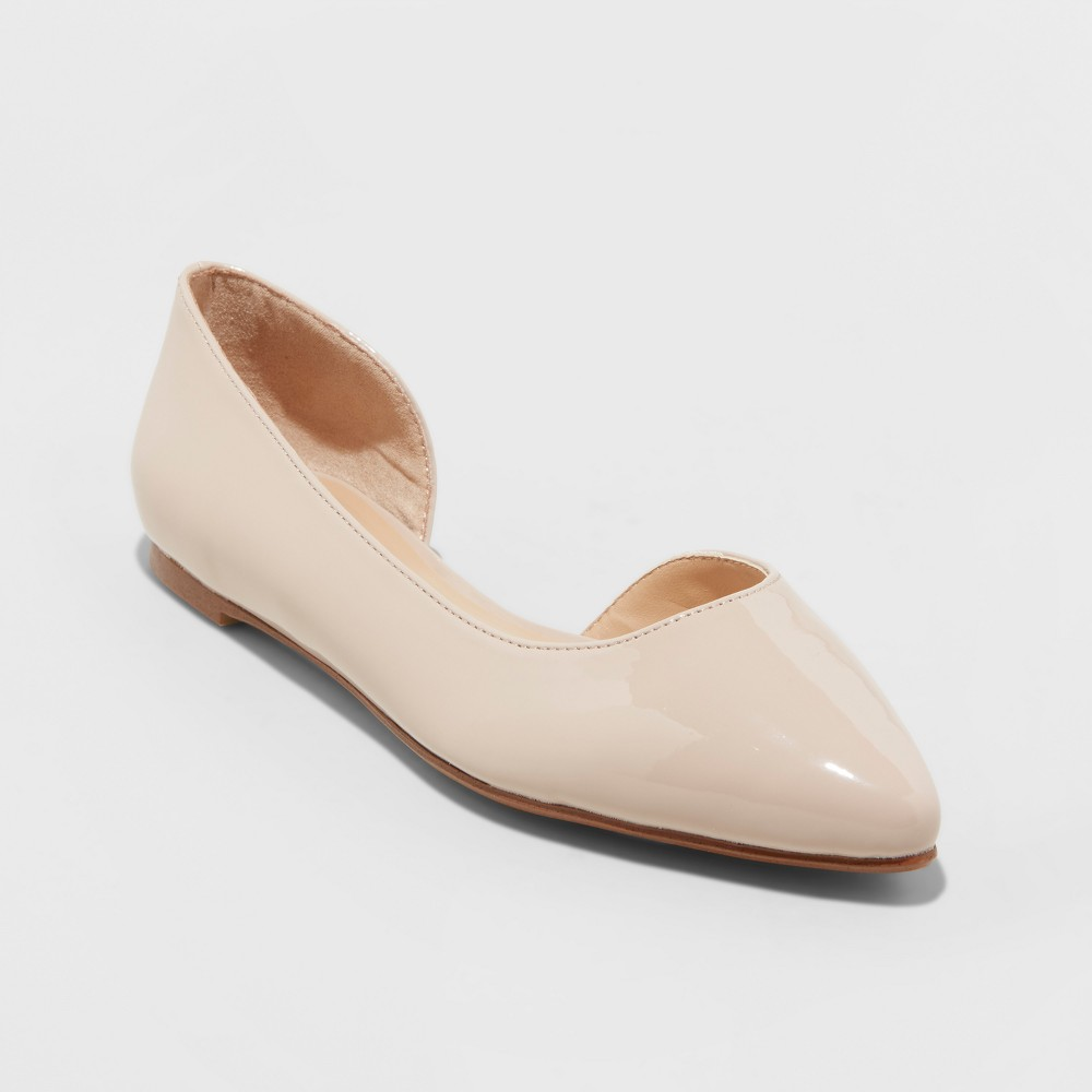 Women's Mohana D'orsay Wide Width Pointed Toe Ballet Flats - A New Day Blush 10W, Size: 10 Wide