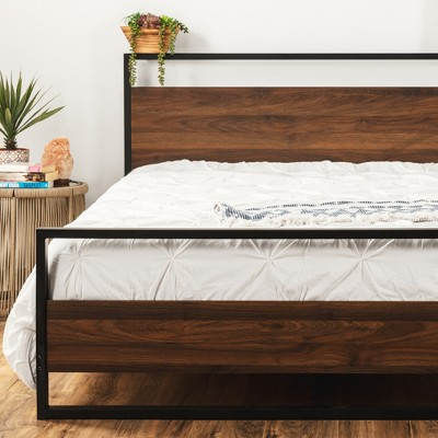 Best Choice Products Metal Wood Platform Queen Bed Frame w/ Wood Slats, Headboard, Footboard, 660lb Cap - Black/Brown