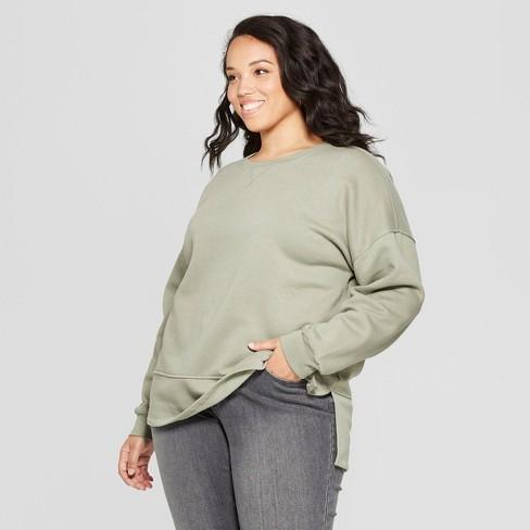 755f805a3e5 Women's Plus Size Tunic Long Sleeve Sweatshirt - Universal Thread™ Olive 4X  : Target