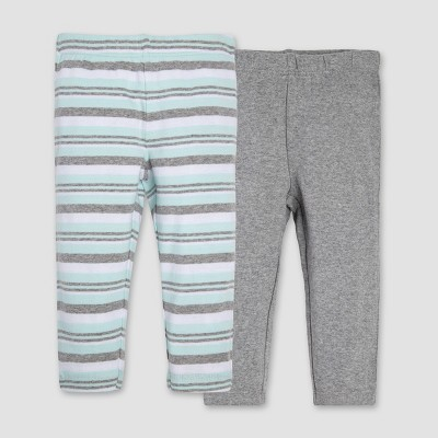 Burt's Bees Baby® Organic Cotton 2pk Striped Pants Set - Heather Gray 3-6M