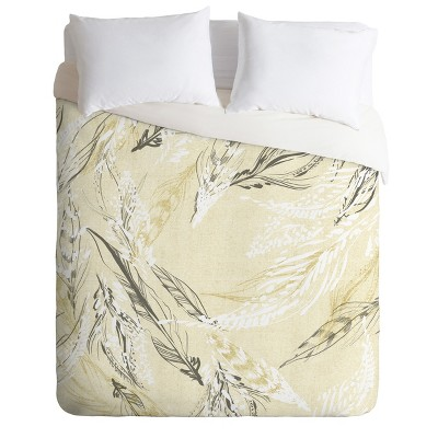 Full/Queen Pattern State Feather Duvet Set Yellow - Deny Designs