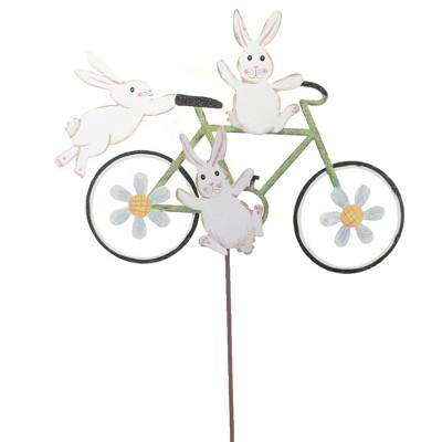 "Home & Garden 28.5"" Bunny Bicycle Daisies Round Top Collection  -  Decorative Garden Stakes"