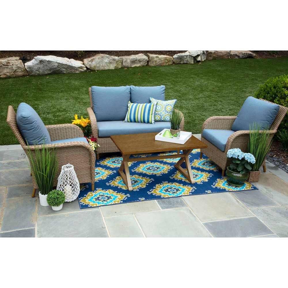 Image of Tupelo 4pc Sunbrella Deep Seating Set Blue - Canopy Home and Garden