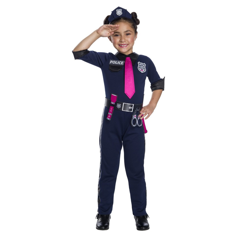 Girls' Barbie Police Officer Halloween Costume M, Multicolored