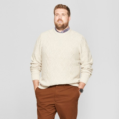 Men's Big & Tall Long Sleeve Cable Crew Pullover Sweater - Goodfellow & Co™ - image 1 of 3