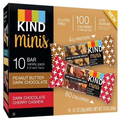 KIND® minis - Peanut Butter Dark Chocolate and Dark Chocolate Cherry Cashew - 10ct - image 1 of 3