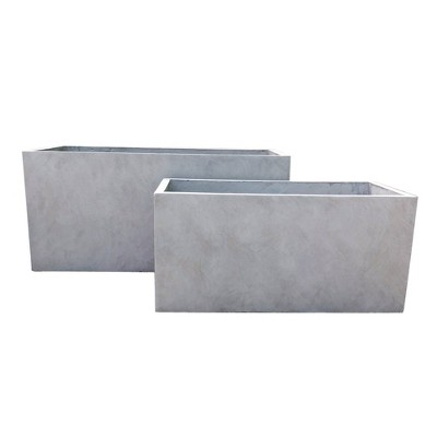 """31"""" Set of 2 Kante Lightweight Concrete Modern Long Low Granite Outdoor Rectangular Planter - Rosemead Home & Garden, Inc"""