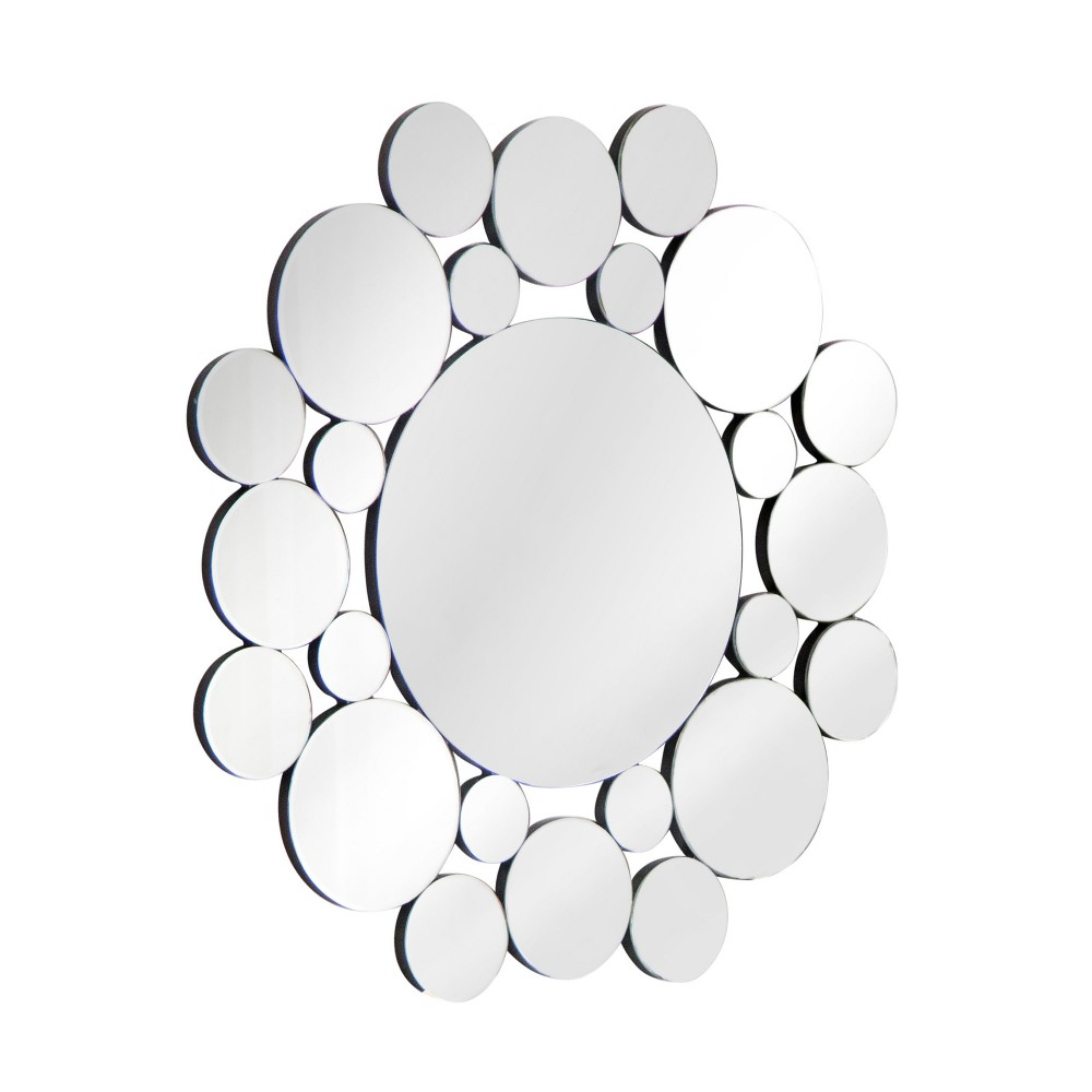 Image of Marissa Bubbles Round Wall Mirror Silver - Abbyson Living