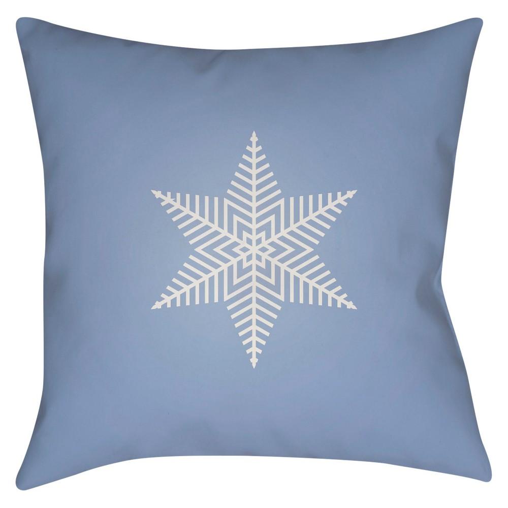 Light Blue Snowflake Throw Pillow 20
