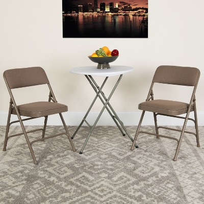 Flash Furniture HERCULES Series Metal Folding Chairs with Padded Seats | Set of 2 Black Metal Folding Chairs