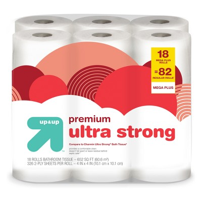 Premium Ultra Strong Toilet Paper - 18 Mega Plus Rolls - (Compare to Charmin Ultra Strong Bath Tissue)- Up&Up™