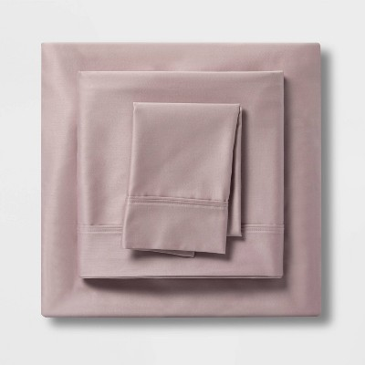 Queen 400 Thread Count Solid Cotton Performance Sheet Set Mauve - Threshold™