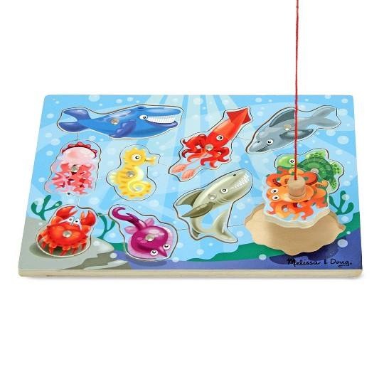Melissa & Doug Magnetic Wooden Puzzle Game Set: Fishing and Bug Catching image number null