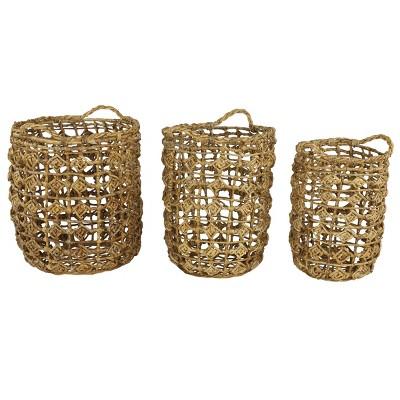 3pk Banana Leaf Storage Baskets with Open Weave Diamond Design Natural