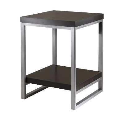 Jared End Table, Enamel Steel Tube - Dark Espresso - Winsome