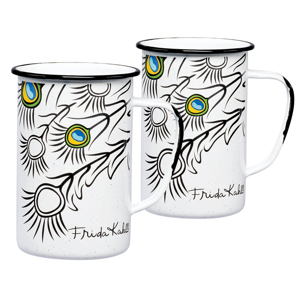 Image of 20oz 2pk Enamelware Frida Kahlo Mug Set Black/White - Cinsa, Black White