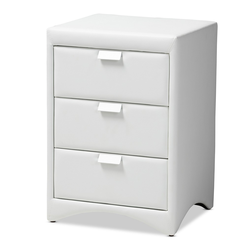 Talia Faux Leather Upholstered 3 Drawer Nightstand White - Baxton Studio