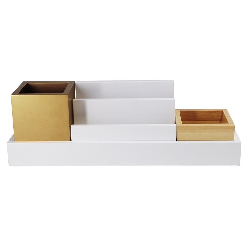 Desktop Storage Unit, White/Gold - Threshold™ - image 1 of 2