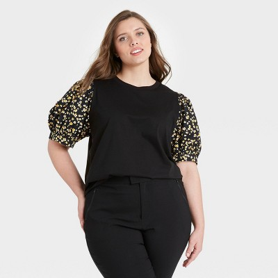 Women's Puff Elbow Sleeve T-Shirt - Who What Wear™ Black