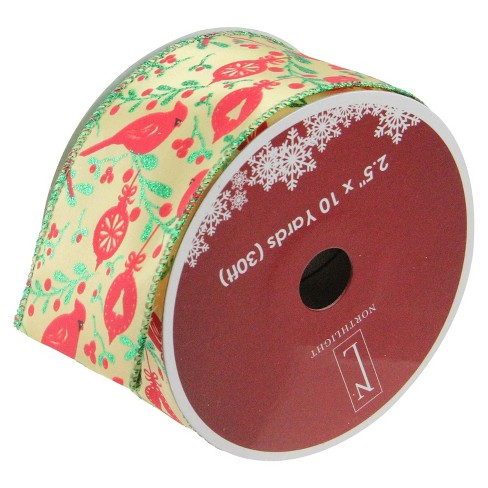 """Northlight Honey Mustard Yellow with Red Cardinals Wired Christmas Craft Ribbon 2.5"""" x 10 Yards - image 1 of 3"""