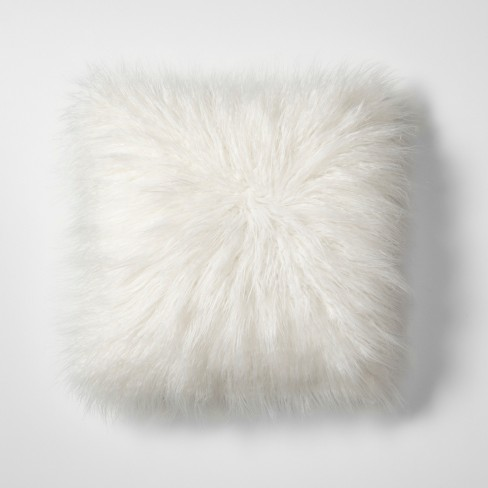White Mongolian Faux Fur Throw Pillow - Project 62™ - image 1 of 4