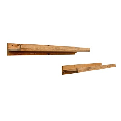 del Hutson Designs 20 Inch Rustic Luxe Farmhouse Solid Natural Pine Wood Wall Mount Display Picture Ledge Floating Shelf Pair, Walnut (Set of 2)
