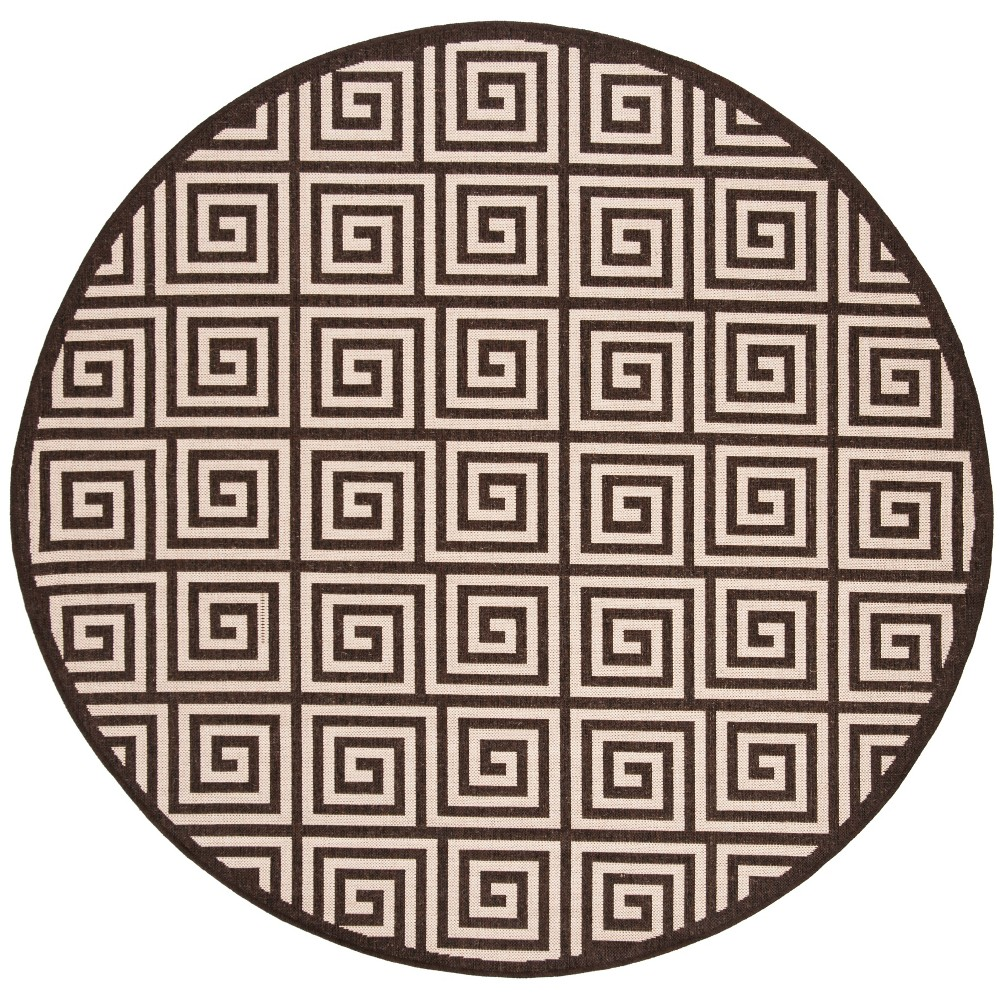 67 Round Geometric Loomed Area Rug Natural/Brown - Safavieh Buy