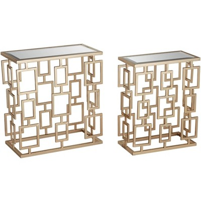 Crestview Collection Maddox  Champagne Metal And Mirrored 2-Piece Table Set