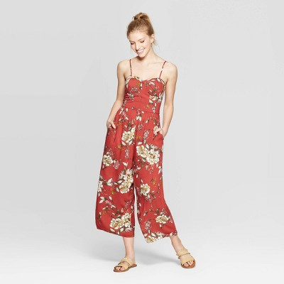 Women's Floral Print Sleeveless Sweetheart Neck Strappy Bra Cup Jumpsuit - Xhilaration™ Brick Red M