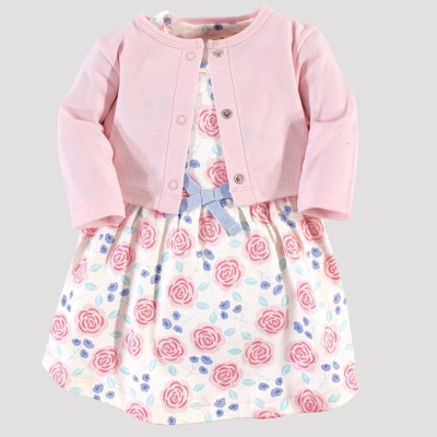 Touched by Nature Baby Girls' Rose Orgainc Cotton Dress & Cardigan - Pink 3-6M
