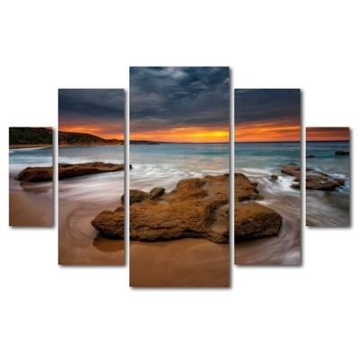 5pc Beach at Sunset 5 by Lincoln Harrison - Trademark Fine Art
