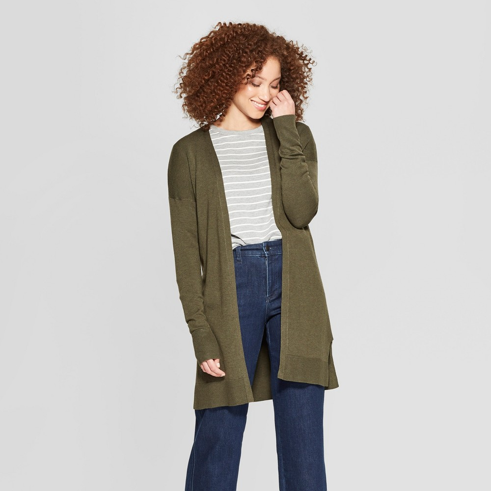 Women's Long Sleeve Open Cardigan Sweater - A New Day Olive (Green) M