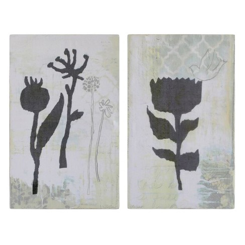 Canvas Flower Wall Art Gray 2pk  - 3R Studios - image 1 of 1