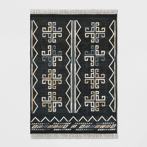 Flatweave Dhurrie Geometric Fringed Woven Area Rug - Opalhouse™ - image 1 of 4