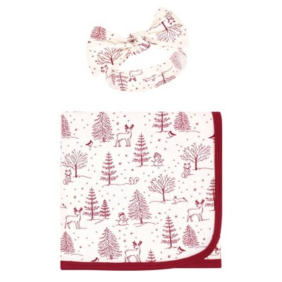 Touched by Nature Unisex Baby Organic Cotton Swaddle Blanket and Headband - Winter Woodland One Size