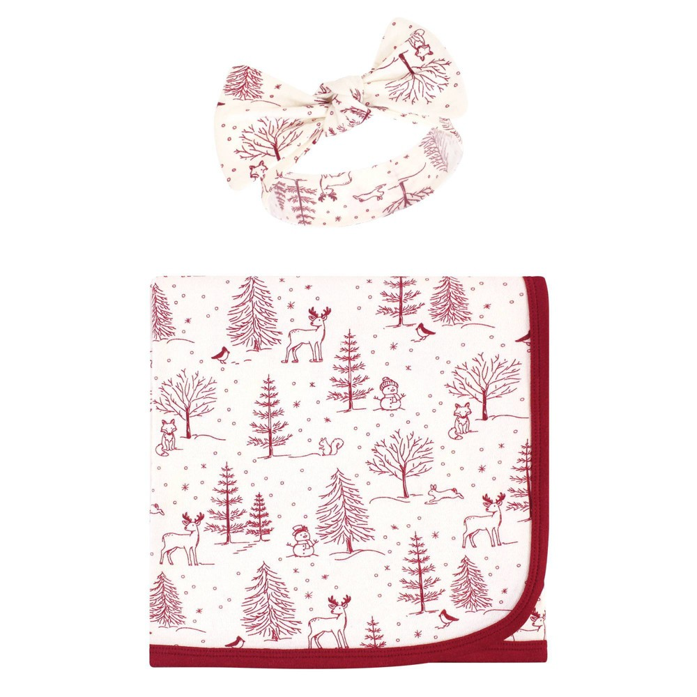 Touched By Nature Unisex Baby Organic Cotton Swaddle Blanket And Headband Winter Woodland One Size