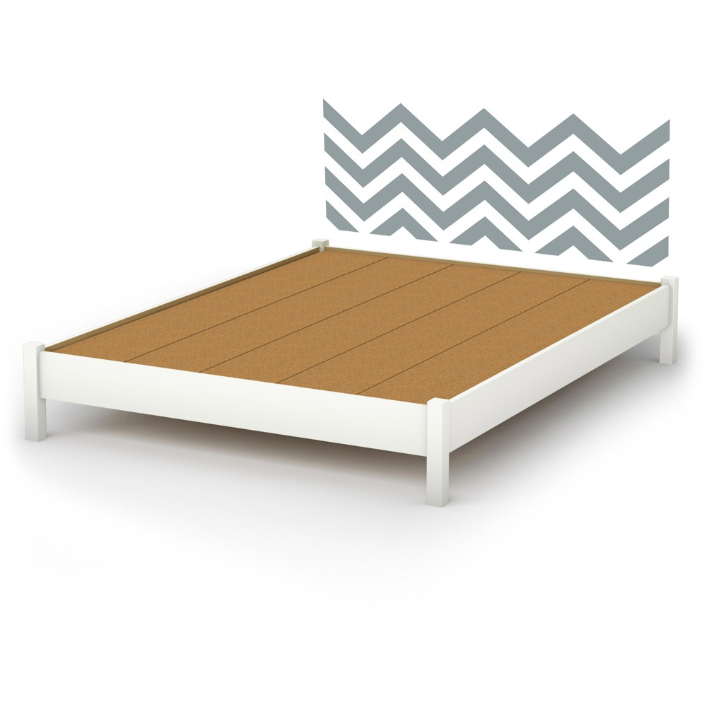 Step One Platform Bed with Chevron Wall Decal Headboard - Queen - Pure White with Gray - South Shore, White/Gray